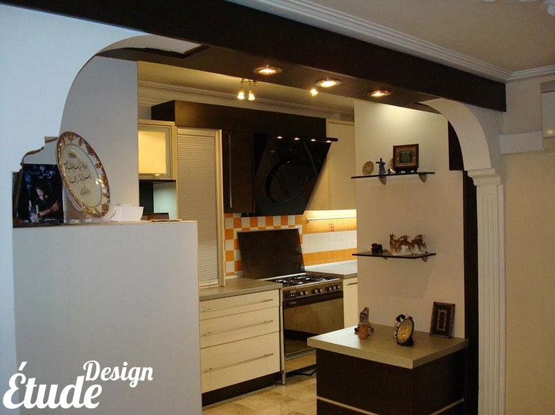 دکوراسیون آشپزخانه با دیواره های نیمه