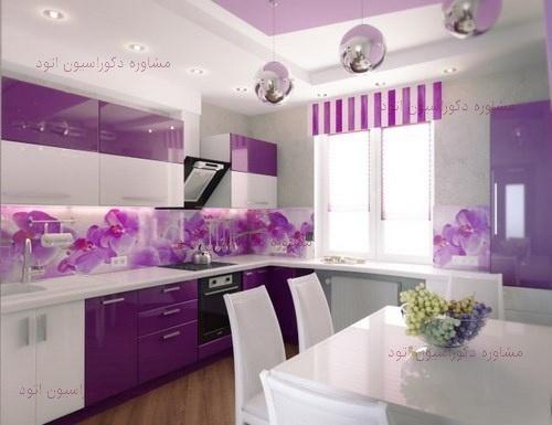 دکوراسیون آشپزخانه سفید بنفش