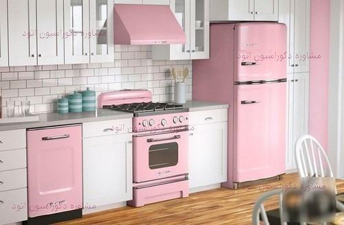 دکوراسیون آشپزخانه سفید صورتی