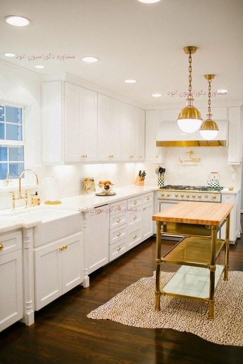 دکوراسیون آشپزخانه سفید طلایی
