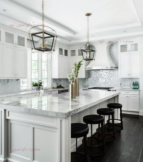 دکوراسیون آشپزخانه سفید مشکی