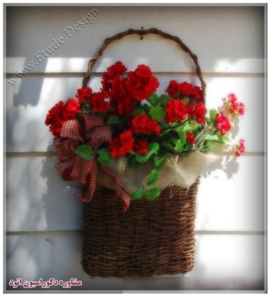 گلدان چوبی گل