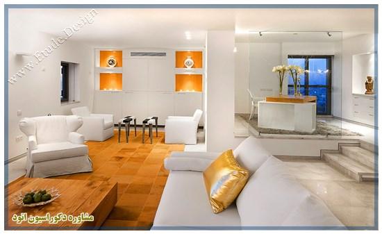 دکوراسیون مدرن سفید طلایی
