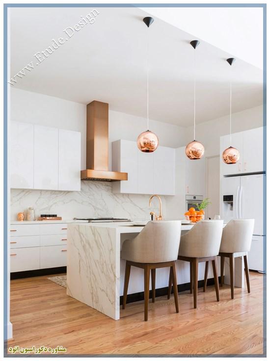 کابینت سفید طلایی هایگلاس