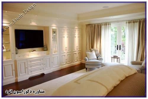 دکور تلویزیون در اتاق خواب مدرن